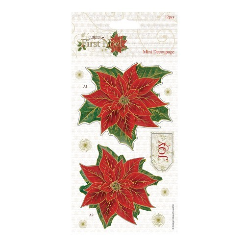 Mini Decoupage (12pcs) - First Noel - Poinsettia