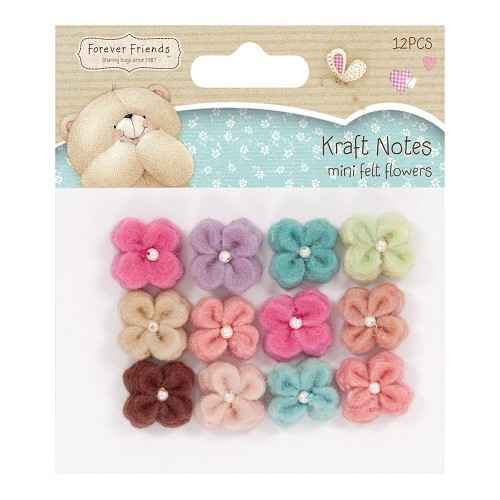 Mini Felt Flowers (12pcs) - Kraft Notes