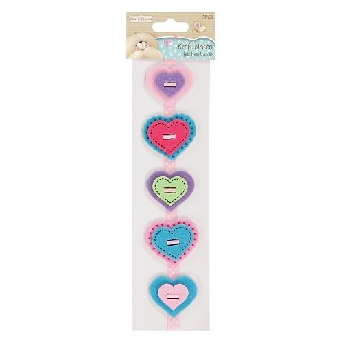 Felt Heart Strip - Kraft Notes