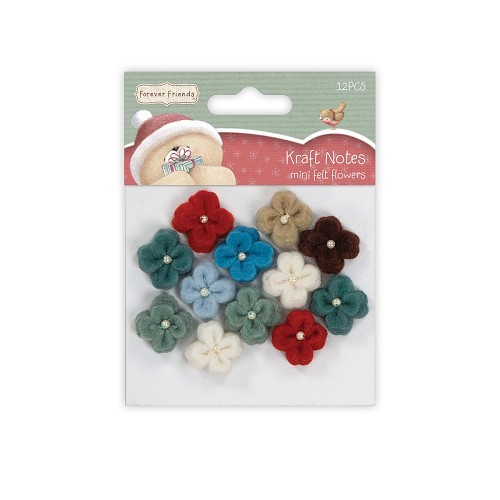Mini Felt Flowers (12pcs) - Christmas Kraft Notes