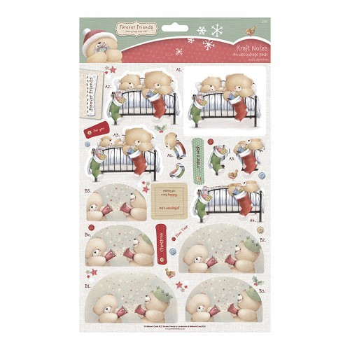 A4 Decoupage (2pk) - Christmas Kraft Notes - Christmas Fun