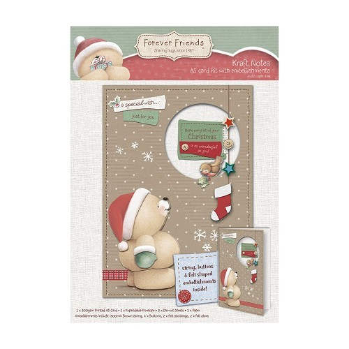 A5 Embellished Decoupage Card Kit - Christmas Kraft Notes