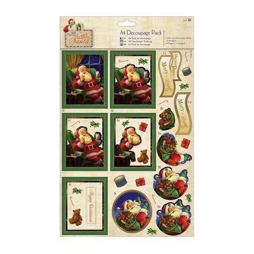 A4 Decoupage Pack Foiled - Letter to Santa - Presents