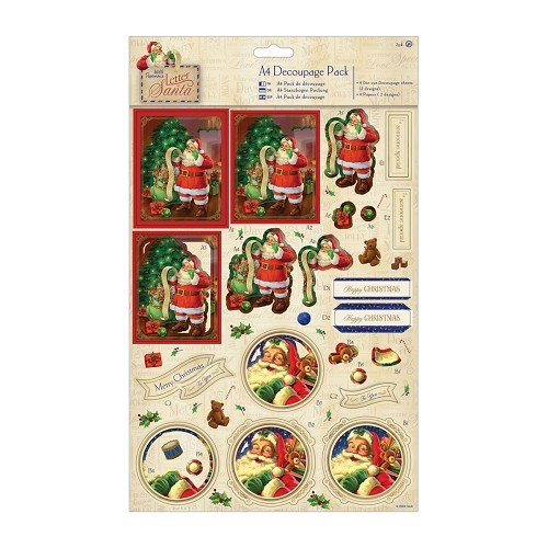 A4 Decoupage Pack Foiled - Letter to Santa - Santa`s List