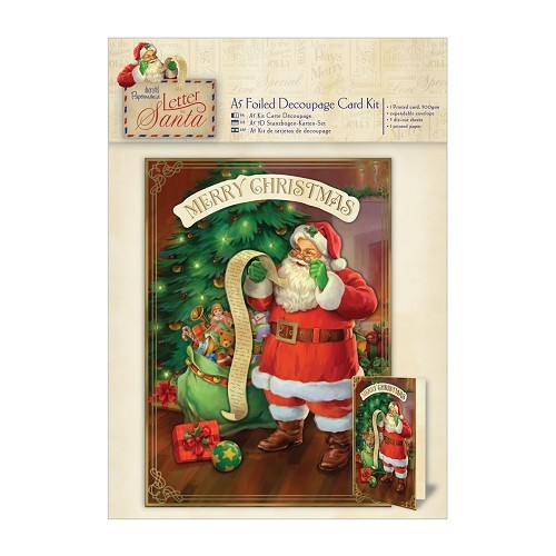 A5 Decoupage Card Kit Foiled - Letter to Santa - Santa's List