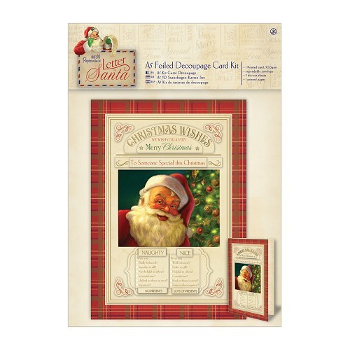A5 Decoupage Card Kit Foiled - Letter to Santa - Naughty & Nice