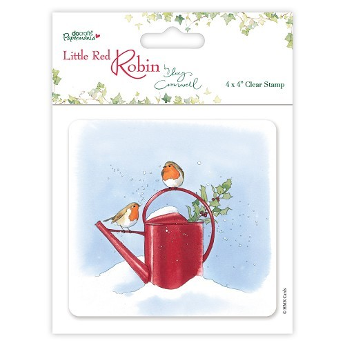 4 x 4 Clear Stamps - Little Red Robin - Watering Can