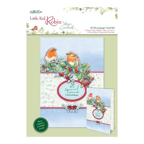 A5 Decoupage Card Kit - Little Red Robin - Garland