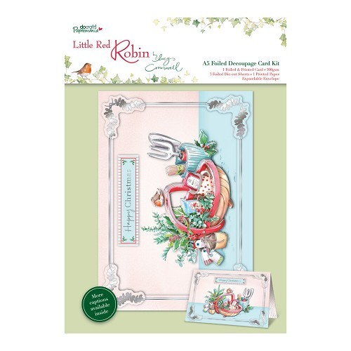 A5 Foiled Decoupage Card Kit - Little Red Robin - Trug