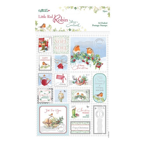 A5 Foiled Postage Stamps (32pcs) - Little Red Robin