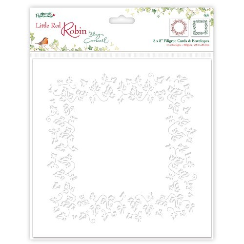 8 x 8 Filigree Cards & Envelopes (6pk) - Little Red Robin