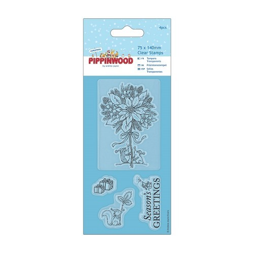 75 x 140mm Mini Clear Stamp - Pippinwood Christmas - Poinsettia
