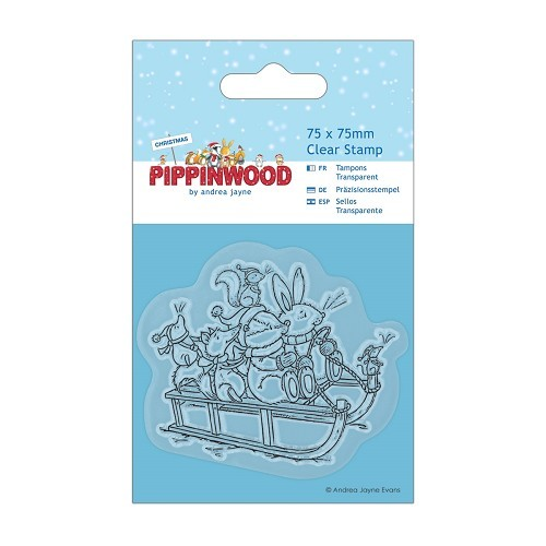 75 x 75mm Mini Clear Stamp - Pippinwood Christmas - Sledge