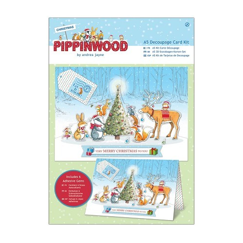 A5 Decoupage Card Kit Linen - Pippinwood Christmas