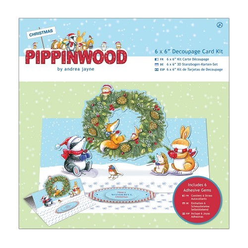 6 x 6 Easel Decoupage Card Kit Linen - Pippinwood Christmas