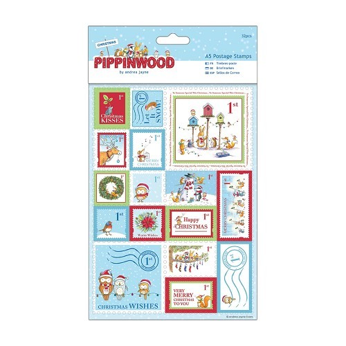 A5 Postage Stamps Linen (32pcs) - Pippinwood Christmas