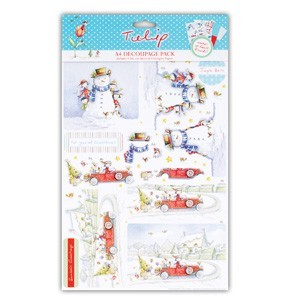 A4 Decoupage Pack - Tulip Christmas (Snowy Rooftops)