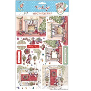A4 Decoupage Pack - Tulip Christmas (By The Fire)