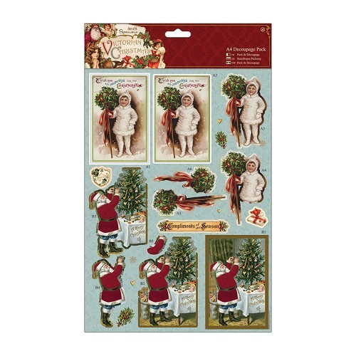 A4 Decoupage Pack - Victorian Christmas - Holly