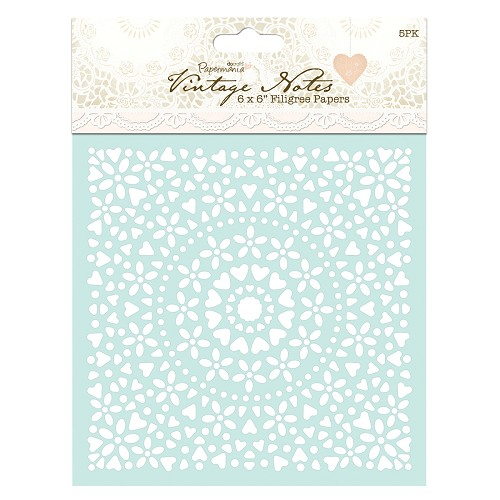 6 x 6 Filigree Papers (5pk) - Vintage Notes