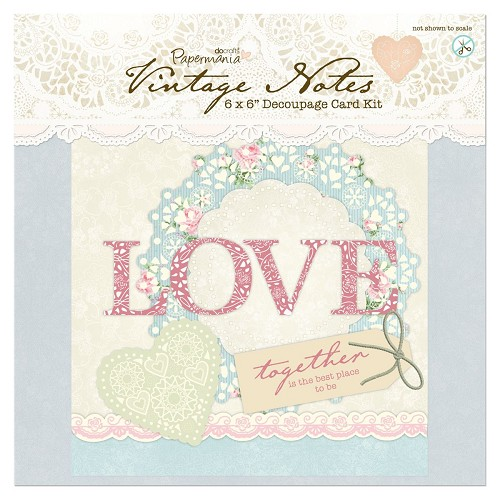 6 x 6 Decoupage Card Kit - Vintage Notes