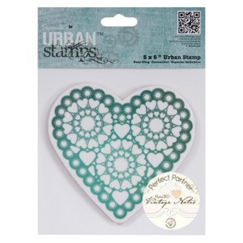 5 x 5 Urban Stamp - Vintage Notes - Hearts