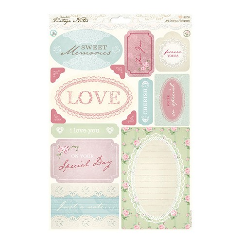 A4 Die-cut Toppers - Vintage Notes - Sentiments