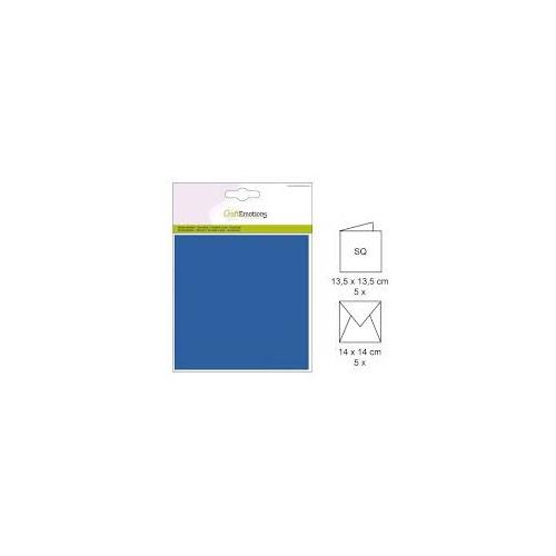 CraftEmotions Kaart & Envelop Set Vierkant blauw