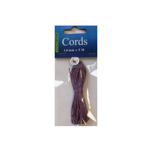 Waxed Cotton Cord 1 mm/5 mtr violet