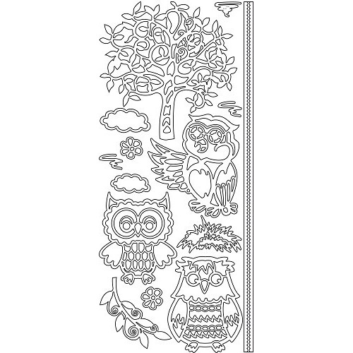 Sticker - Owls tree - zilver