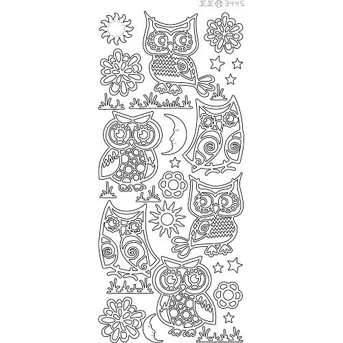 Sticker - Various owls - Zilver