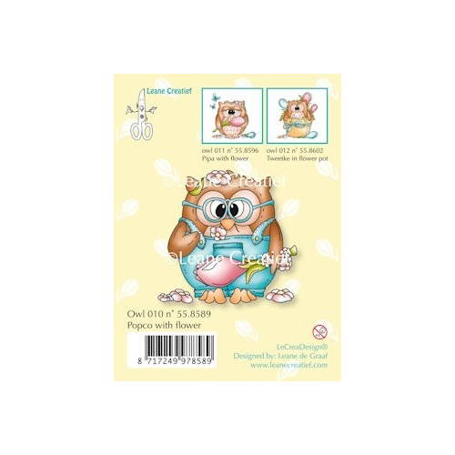 Clear stamp Owl Popco with flower #JAN13