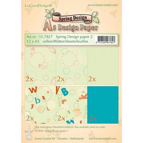 Leane Creatief A5 Spring Design Paper-2,  12 vel