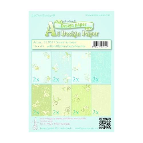 Design papier ass A5 swirls & roses blauw-groen
