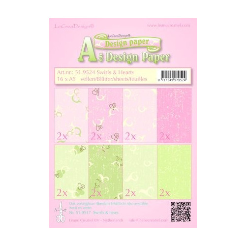 Design papier ass A5 swirls & hearts roze-groen