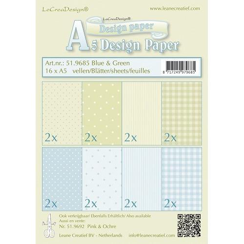 Design papier assortiment blauw/groen 16 x A5