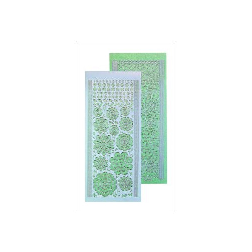 LeCreaDesign bloem stickers - green silver