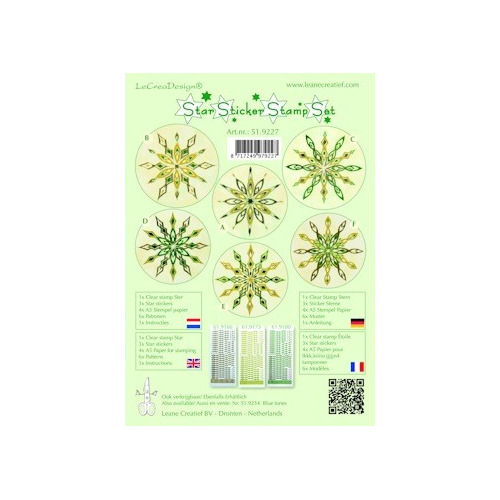 Star sticker stamp set groen