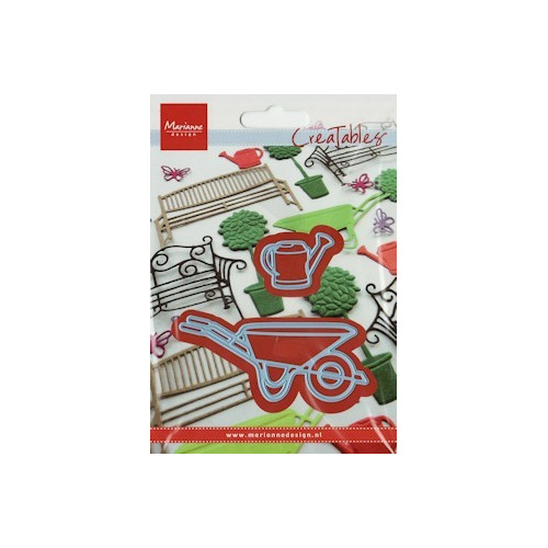 LR0260 Creatables stencil wheelbarrow and watering can #FEB13