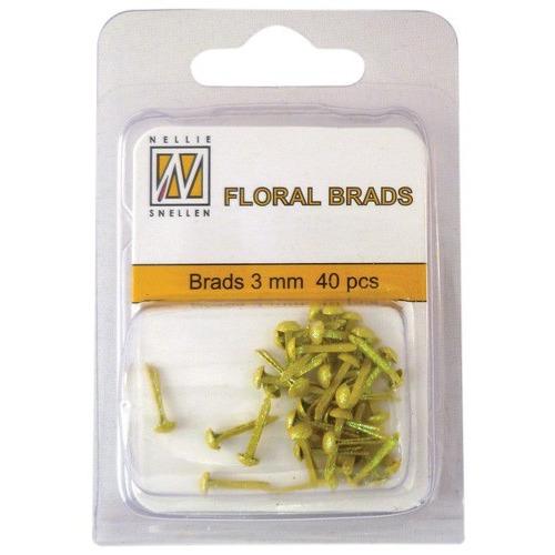 Floral glitter brads GB009 geel