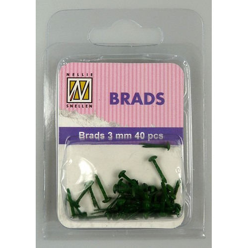 Floral brads - Christmas green