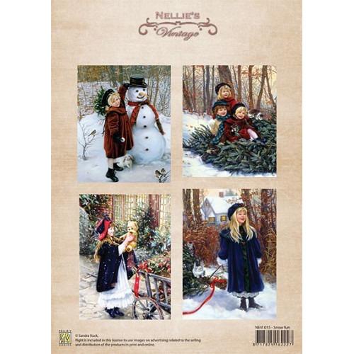A4 sheet Christmas colour vintage snow fun