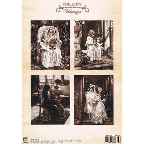 Nellie Snellen Decoupage sheets colour vintage play time