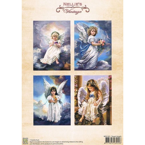 Nellie Snellen Decoupage sheets colour vintage Sweet angels