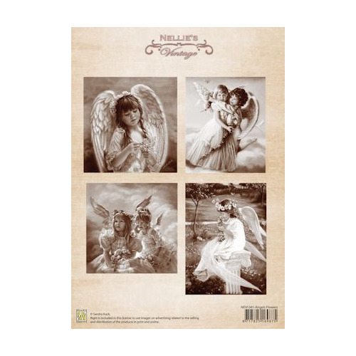 3D vel Vintage angels flower