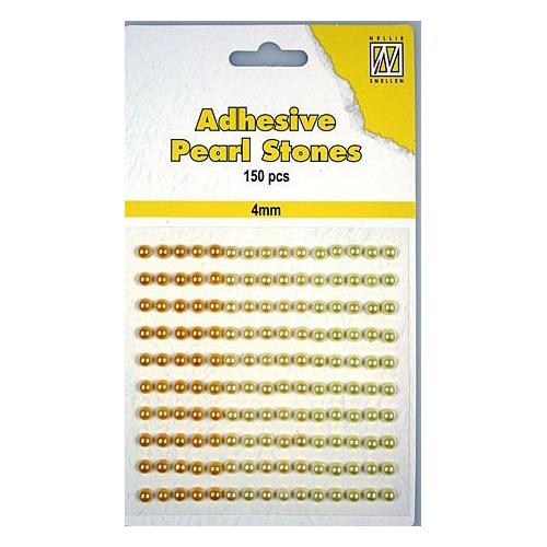 150 plak parels 4mm. 3 kleuren: geel/goud APS404