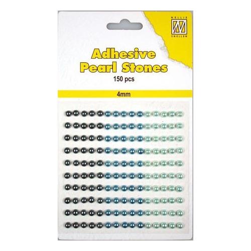 150 plak parels 4mm. 3 kleuren: blauw APS403