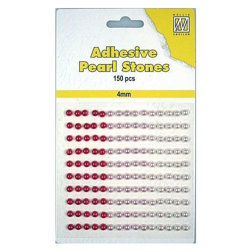150 plak parels 4mm. 3 kleuren: rood APS401