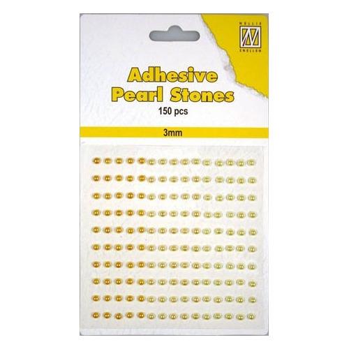 150 plak parels 3mm. 3 kleuren: geel/goud APS304