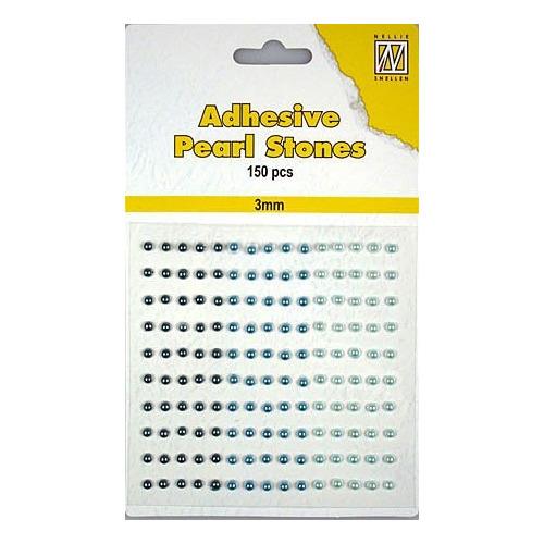 150 plak parels 3mm. 3 kleuren: blauw APS303
